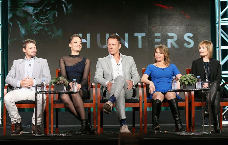 (L-R) Actors Nathan Phillips, Britne Oldford, Julian McMahon, executive producers Natalie Chaidez and Gale Anne Hurd speak onstage during the 'Hunters' panel discussion at the NBCUniversal portion of the 2015 Winter TCA Tou at Langham Hotel on January 14, 2016 in Pasadena, California.