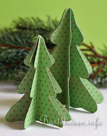 Basteln mit Papier - Weihnachtsbasteln - Weihnachtsbasteleien - 3-D Weihnachtsbaum