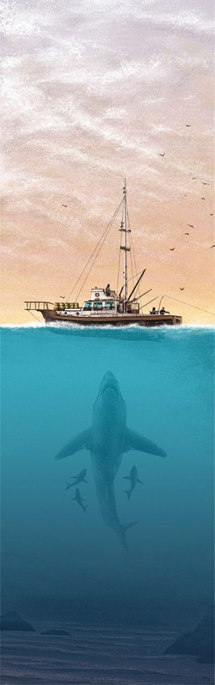 Jaws Poster from Justin Santora & JC Richard's show at Gallery 1988
