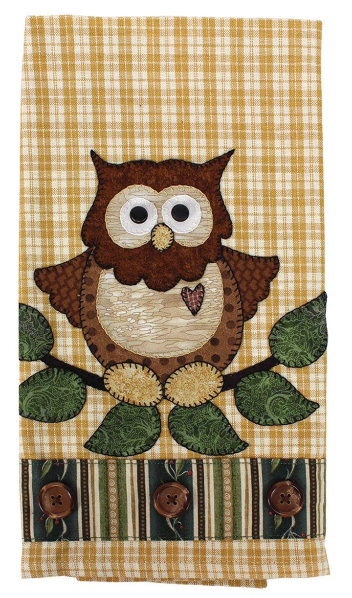 Owl Applique Tea Towel.
