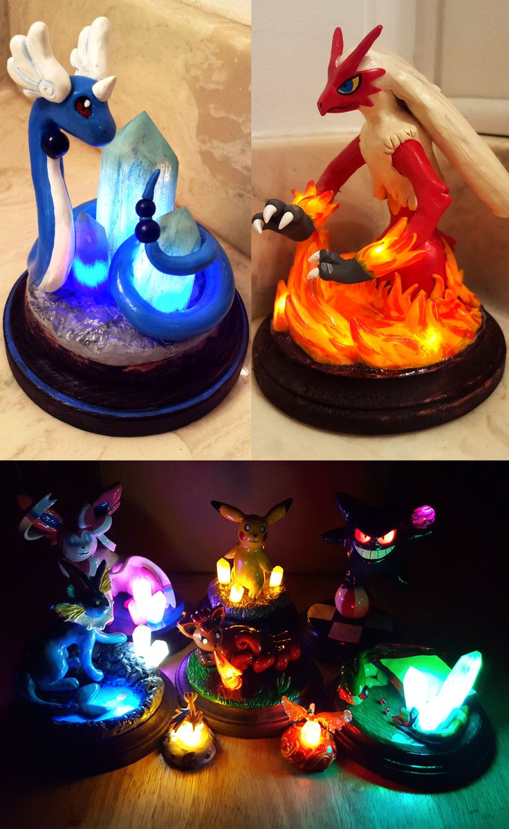 Make any workstation a little brighter with these stunning light-up Pokemon sculptures! Customize an order by choosing your favorite companion, along with it's own habitat that is hand painted and fitted with LED lights