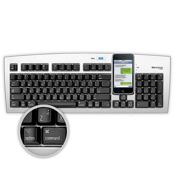 """""""The One"""" – A Keyboard for iPhone and PC or Mac $99: Greatest Keyboard, Smart Phones, Phones Cradles, Techi Stuff, Usb Keyboard, Products, Iphone Keyboard, Bluetooth Keyboard 99 99, The One"""