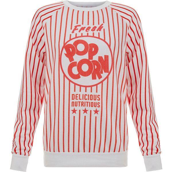 Filles A Papa Paul Pop Corn Sweatshirt ($105) ❤ liked on Polyvore featuring tops, hoodies, sweatshirts, pink, pink sweatshirt, cotton sweat shirts, stripe top, sweatshirts hoodies and long sleeve cotton tops