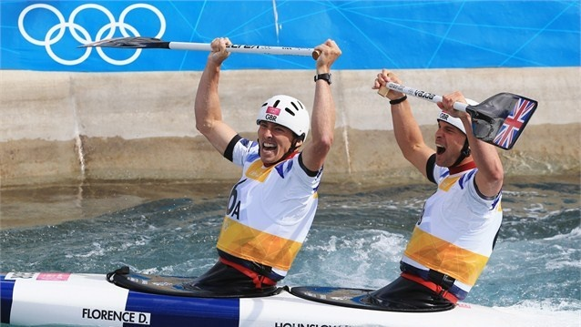 David Florence and Richard Hounslow of Great Britain celebrate winning silver during the men's Canoe Double (C2) Slalom on Day 6 of the London 2012 Olympic Games at Lee Valley White Water Centre