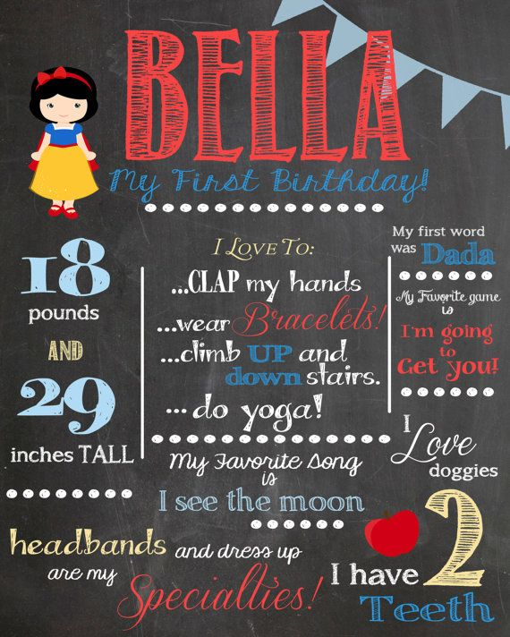 Snow White Disney Princess - First Birthday Customized Chalkboard Poster - Digital File on Etsy, $25.00