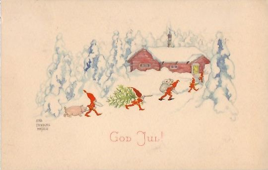 """""""Sweet Christmas illustration"""" Aina Stenberg a.k.a Aina Stenberg MasOlle (1885-1975) was a Swedish artist. In Sweden her advent calendars were also very popular. Elves (Tomte), fairies, and other folklore are popular subjects within her art."""