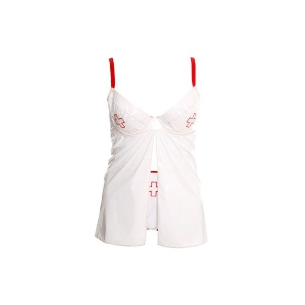 White Vinyl Nurse Babydoll and G-String Set ($31) ❤ liked on Polyvore featuring intimates, tops, lingerie, costumes, dresses, vinyl lingerie, white babydoll lingerie, babydoll lingerie, baby doll lingerie and white lingerie