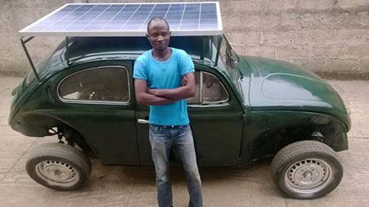 solar-powered car by Segun Oyeyiola, Obagemi Awolowo University, wind-powered vehicle, retrofitted Volkswagen Beetle, solar panels for vehic...