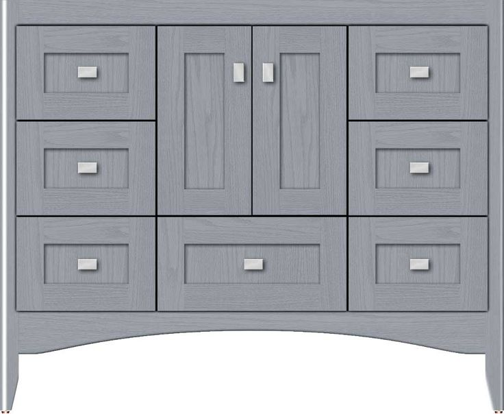 "42"" wide Wallingford Shaker silver oak vanity. 34½"" tall, 21"" or 18"" wall-to-front (doors add ¾"")."