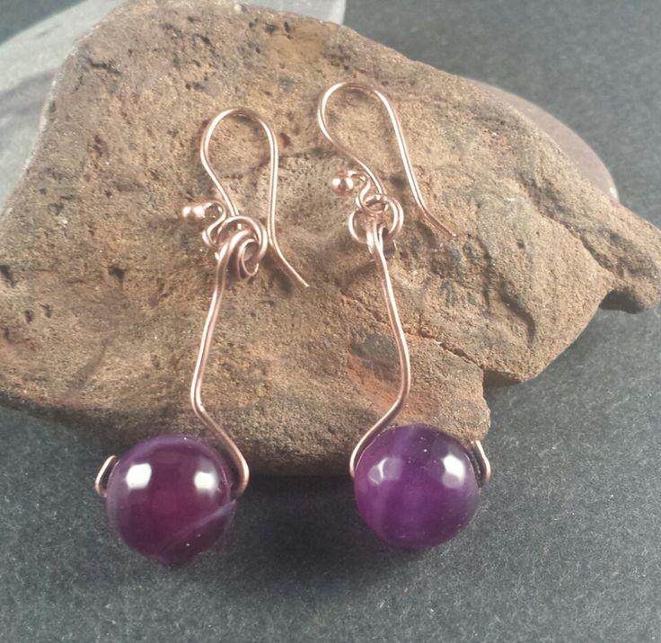 Copper and Amethyst Earrings