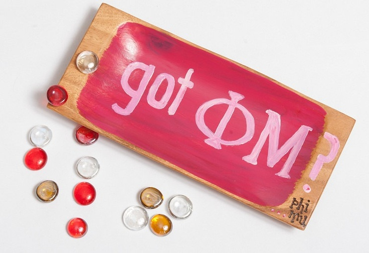 GOT PHI MU or any other Sorority or Fraternity Hand Painted and Burned Acacia Wood tray $18.00, via Etsy.