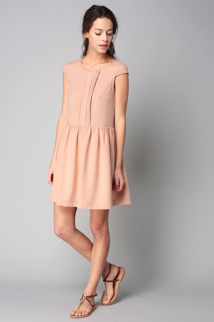 Robe rose plis Maëlle