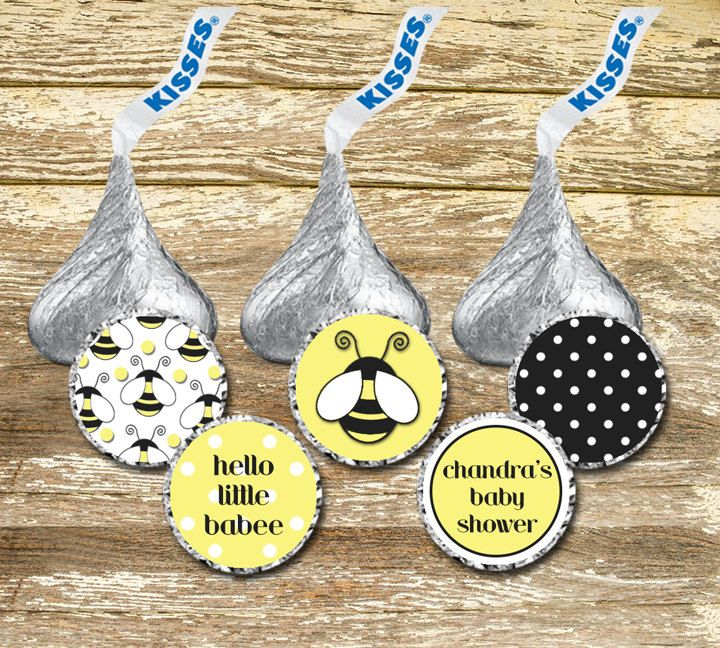 A personal favorite from my Etsy shop https://www.etsy.com/ca/listing/271367896/hershey-kisses-stickers-bees-baby-shower