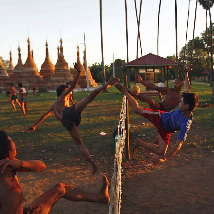 Myanmar's traditional sport of Chinlone is played in Naypyidaw on November 18th 2016. Chinlone is a combination of sport and dance and is non-competitive; the focus is not on winning or losing, but on how beautifully one plays the game. Credit: AP/Aung Shine Oo #Myanmar #Chinlone #Naypyidaw #beautifulgame #sport #dance