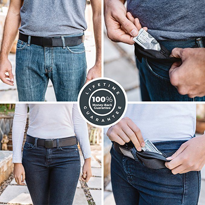 Zero Grid Travel Security Belt - Hidden Money Pouch - Non-Metal Buckle, Black  http://amzn.to/2r1YUK6 Keep cash safe from pickpockets by storing it in a hidden zippered security pocket of your belt. Safely conceals spare currency, a paper passport copy, and important travel documents from thieves. Spacious enough to store bills with a single fold. Zipper with a reinforced non-slip buckle. Fully adjustable for Men and Women. TSA approved. Designed for safe international travel.