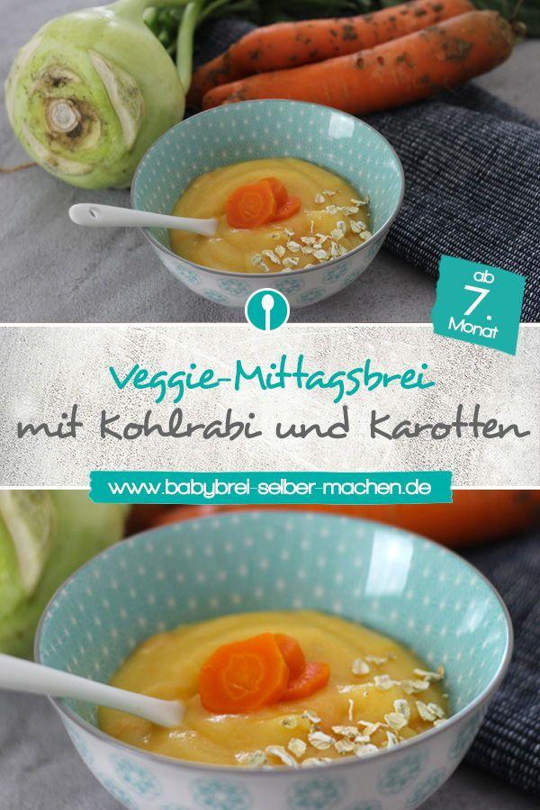 Vegetarischer Babybrei mit Kohlrabi und Karotten. Dieses Rezept ist geeignet ab …