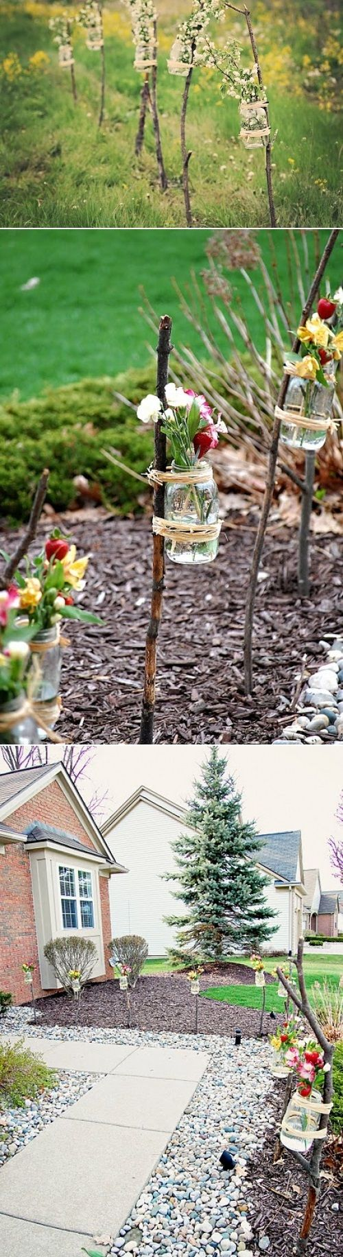 DIY Outdoor Party Vases. Love this for the wedding and around the house!