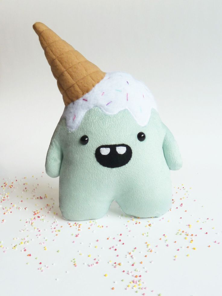 stuffed plush monster - Stuffed toy - monster toy - Ice cream - stuffed monster - Plushie - Softie - Whoops the clumsy monster by CreepyandCute on Etsy https://www.etsy.com/listing/183918702/stuffed-plush-monster-stuffed-toy