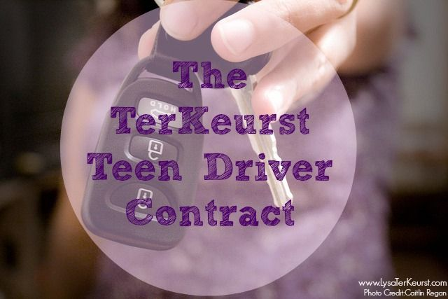 This is the contract all the TerKeurst teen drivers have to sign-maybe your family can find it useful, too!