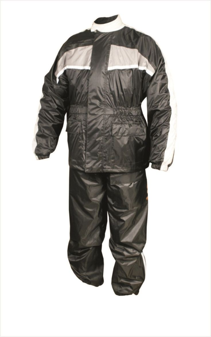 Mens Black and Gray Motorcycle Rain Suit with Reflective Stripe by Allstate Leather. http://www.mymotorcycleclothing.com/