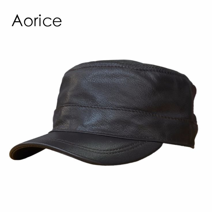 HL154-B  genuine leather men baseball cap hat  high quality men's real sheep skin leather adult solid army hats caps