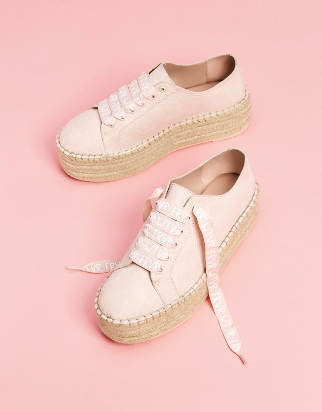 ffd1e51f89f Embossed sneakers with jute platforms- Bershka  fashion  product  shoes   cool  trend  trendy  outfit  girl  pink  rosa  embossed  sneakers  jute   platform ...