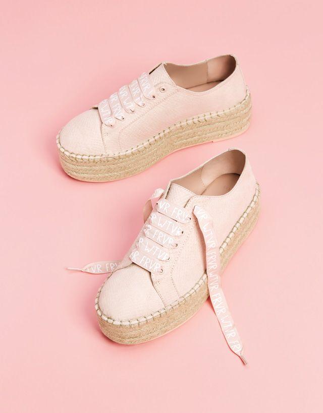 eba9fa1008da1 Embossed sneakers with jute platforms- Bershka #fashion #product #shoes  #cool #trend #trendy #outfit #girl #pink #rosa #embossed #sneakers #jute  #platform ...