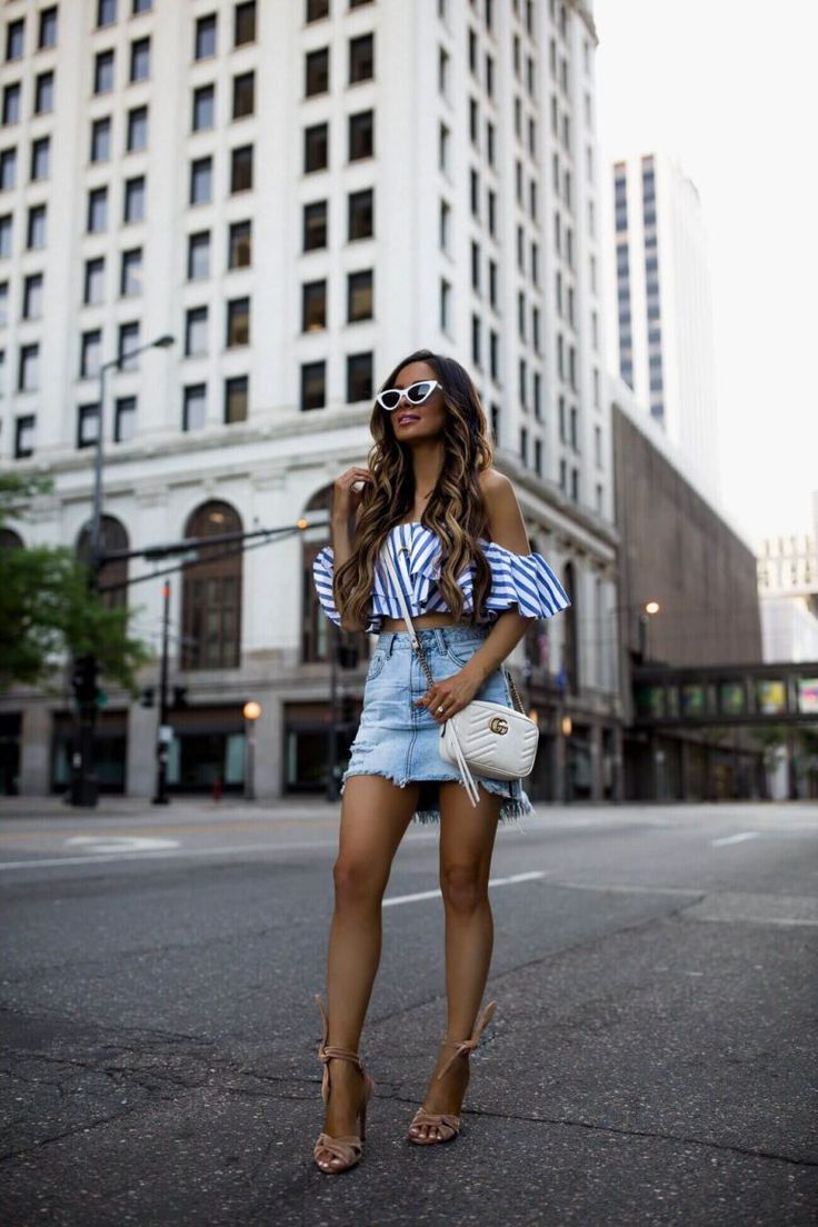 be922d66b4f fashion blogger mia mia mine wearing a striped ruffle crop top from  nordstrom and a gucci marmont white bag