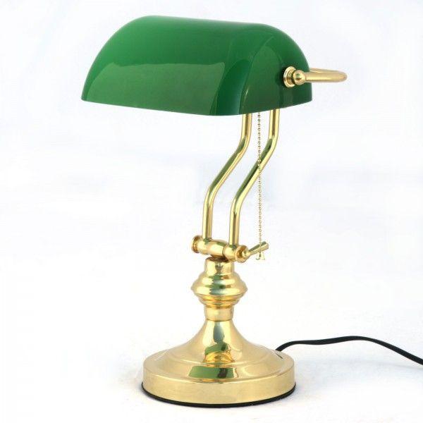 Vintage Bankers Desk Lamp Green Glass Shade Marble Base Brass Art Deco Bankers Desk Lamp Lamp Brass Desk Lamp