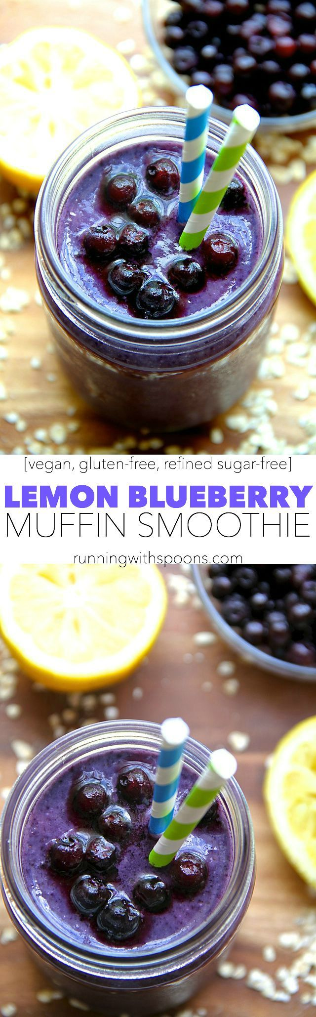 Lemon Blueberry Muffin Smoothie -- cool, creamy, and comforting thanks to the addition of a special ingredient! || runningwithspoons.com #vegan #healthy