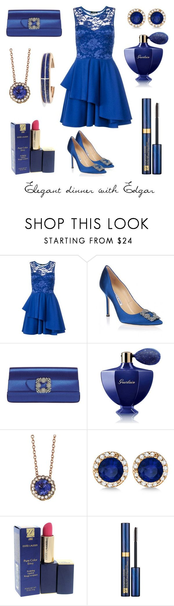 """""""SWD Blood In Roses  - dinner with Edgar"""" by thatshippertypefangirl ❤ liked on Polyvore featuring Dorothy Perkins, Manolo Blahnik, Guerlain, Selim Mouzannar, Allurez, Estée Lauder and Pamela Love"""
