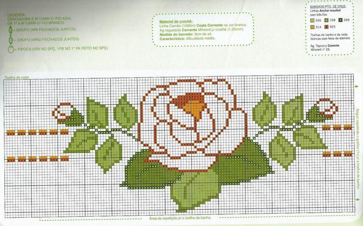 ARTESANATOS TRANSITÓRIA: Rosas bordadas no ponto cruz