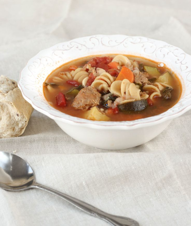 Spinach And Turkey Italian Sausage Soup With Veggies And ...