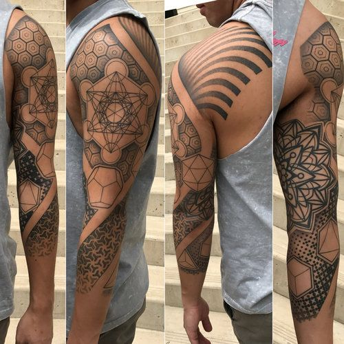 Geometric Sleeve Tattoo by David Mushaney - www.DMTattoos.com