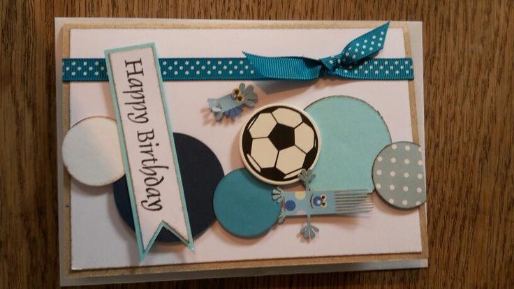 Børnekort. Blå nuancer. Cirkler. Fodbold. Trold.
