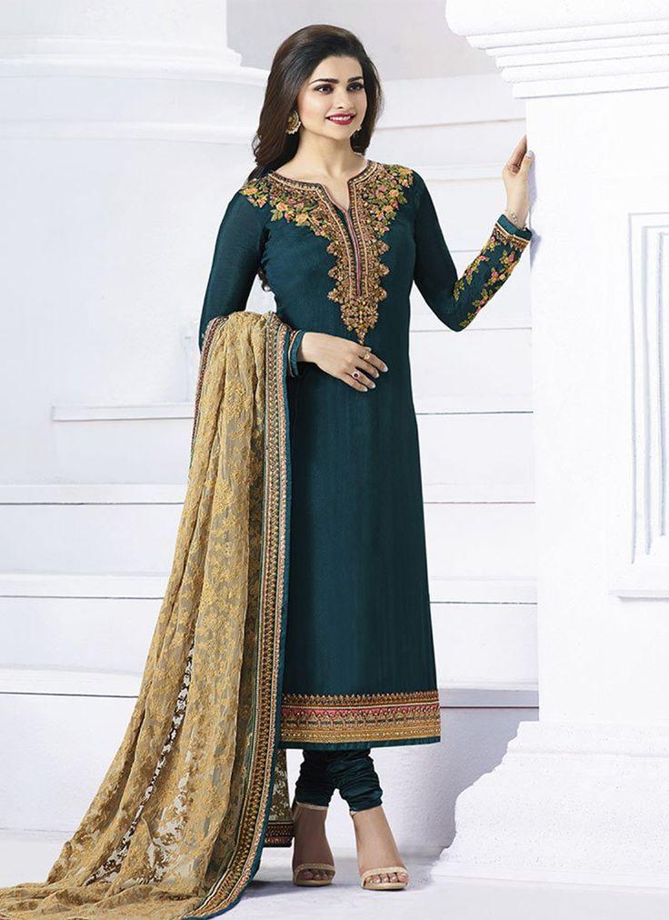 Buy Prachi Desai Teal Georgette Straight Suit, straight-suit Online Shopping, SLSRF20920