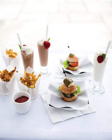 Miniature versions of burgers, french fries, and milkshakes