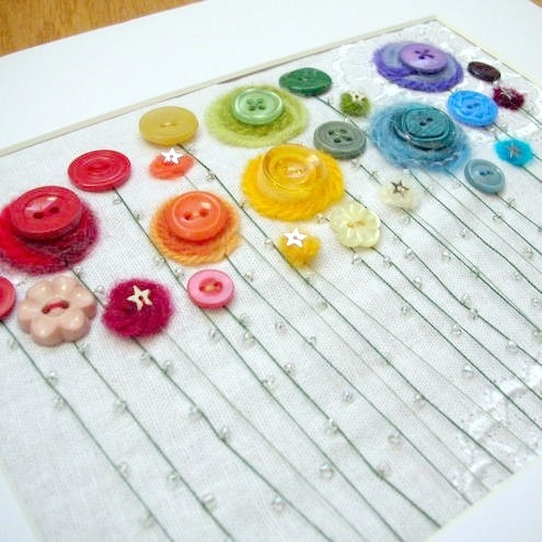 A rainbow button garden