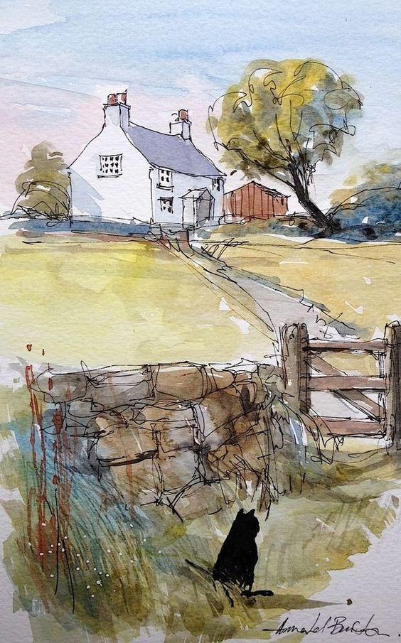 """Black Cat ~ Watercolour Landscape Painting by Annabel Burton, English Artist ...."