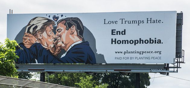 A Giant Billboard Of Trump And Cruz Kissing Just Went Up 5 Minutes From The RNC