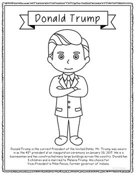 USA President Donald Trump Coloring Page. This coloring page featuring the 45th President of the United States of America will make a great addition to your discussions about debates, elections, popular vote vs. electoral college, political parties, and inaugurations.