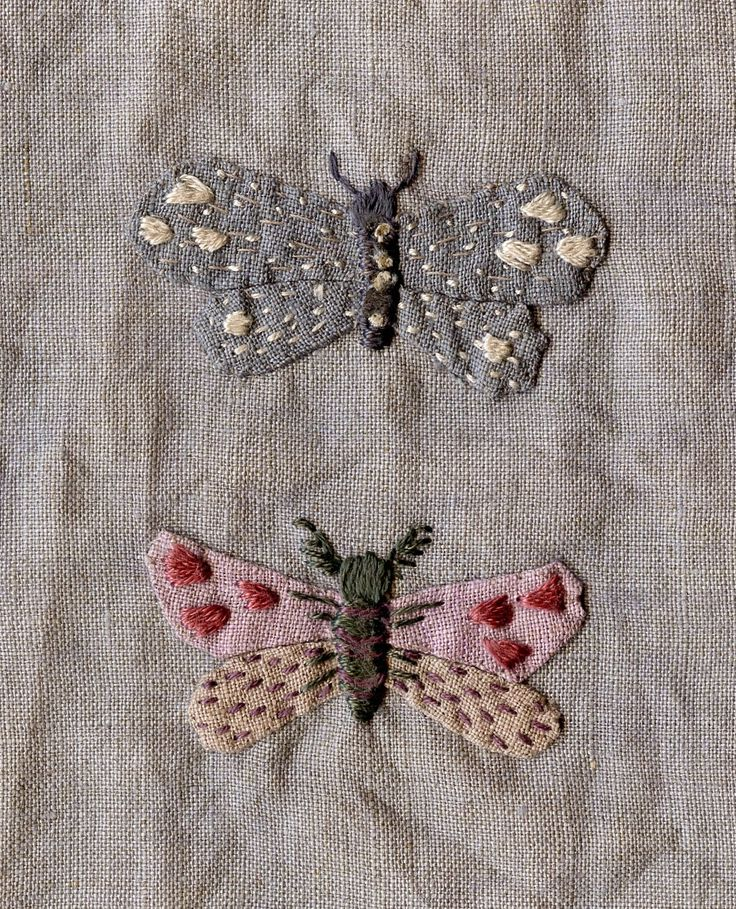 Miserable colours are what inspire me ....and moths....while I will never be a neat embroiderer, I am pleased with the way the colours tu...