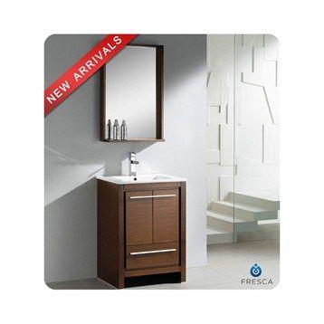 "Fresca Allier 24"" Wenge Brown Modern Bathroom Vanity with Mirror"