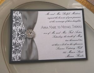 Custom Wedding Invitation Black Damask Rhinestone