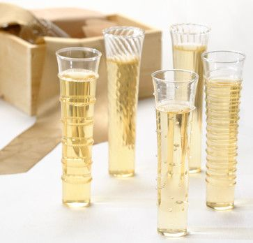 Dainty Champagne Flutes, Set of 6 - contemporary - Cups And Glassware - Olive & Cocoa