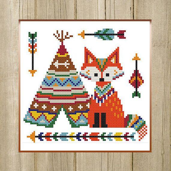 PDF. Fox Indian. Cross stitch pattern animal fox by SecretFriends