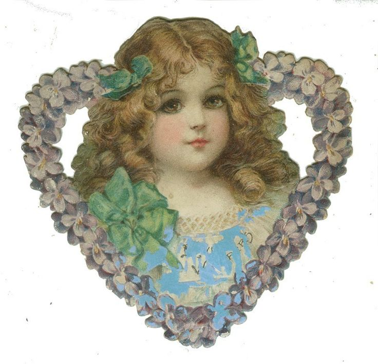 Frances Brundage Die Cut Pretty Girl in Flower Heart | eBay