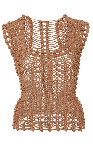 This **Helen Rödel** Penelope Knit Tank is rendered in hand stitched crochet and features a square neckline and slightly cropped, fitted silhouette.