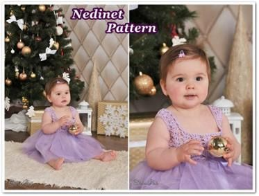 Crochet tulle dress pattern, 0-36 months set