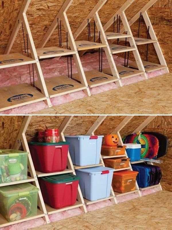 DIY Wooden Attic Shelves. By using the structures in the attic room, turn your attic into a reliable storage space. http://hative.com/creative-attic-storage-ideas-and-solutions/